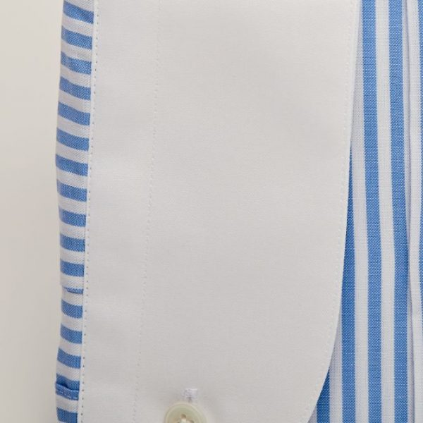 Cămașă Albă cu Dungi Bleu Verticale - Guler Piccadilly Round