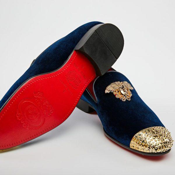 Pantofi loafers bleumarin cu auriu