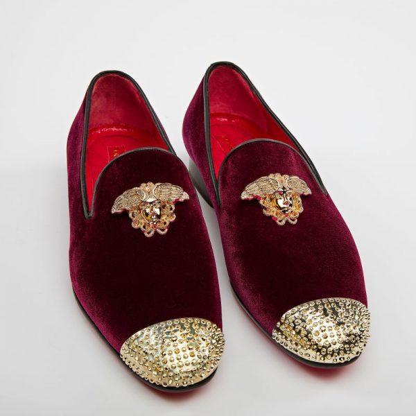 Pantofi loafers grena cu auriu