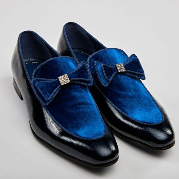 Pantofi loafers bleumarin cu albastru