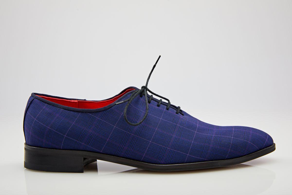 Pantofi oxford albastru în carouri