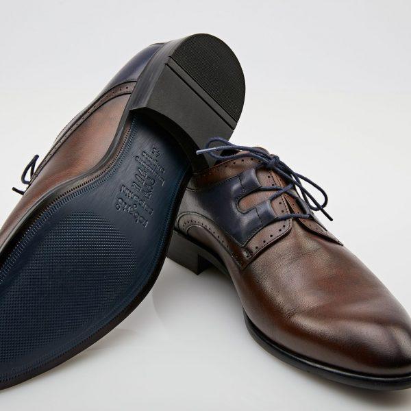 Pantofi Derby maro cu bleumarin