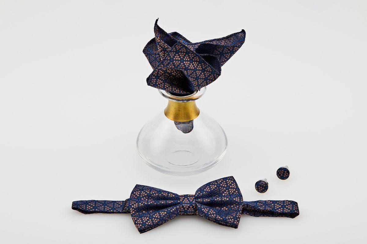 Set papion culoare bleumarin cu motive geometrice