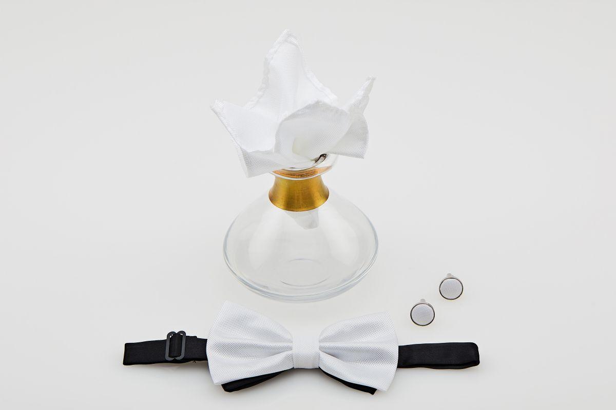 Set papion culoare alb