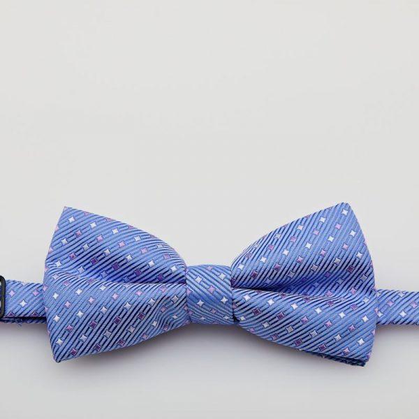Papion culoare bleu cu motive geometrice
