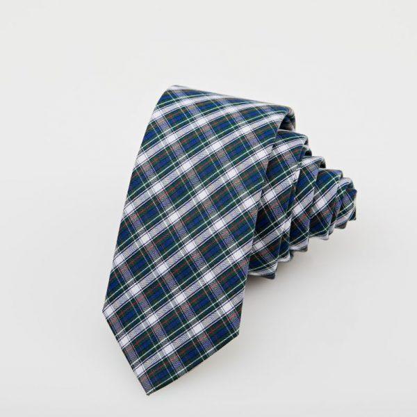 Cravată bleumarin cu dungi albe