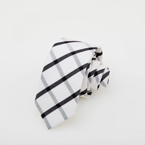 Cravată albă cu dungi negre