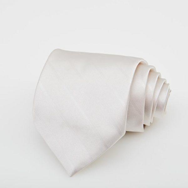 Cravată albă cu dungi oblice