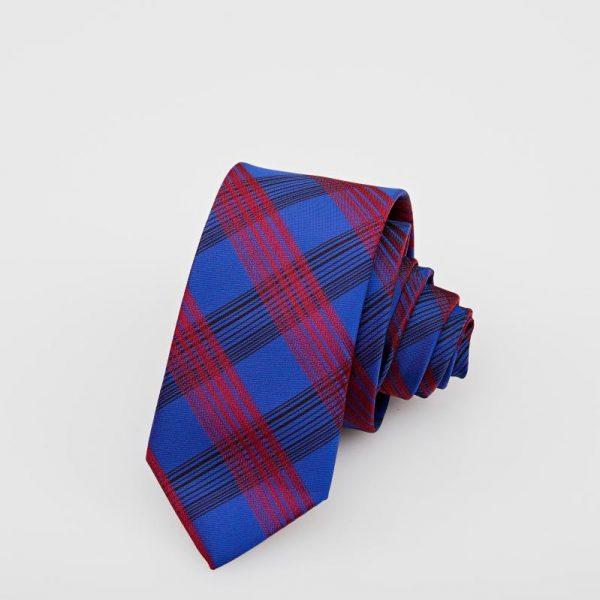 Cravată albastră cu dungi roșii și bleumarin