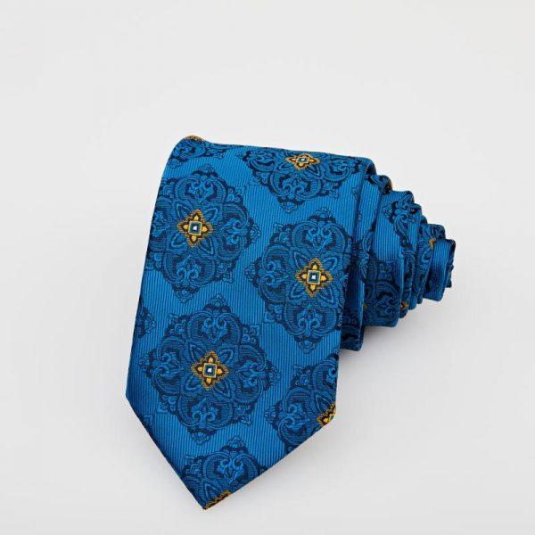Cravată albastră cu motive bleumarin și galben