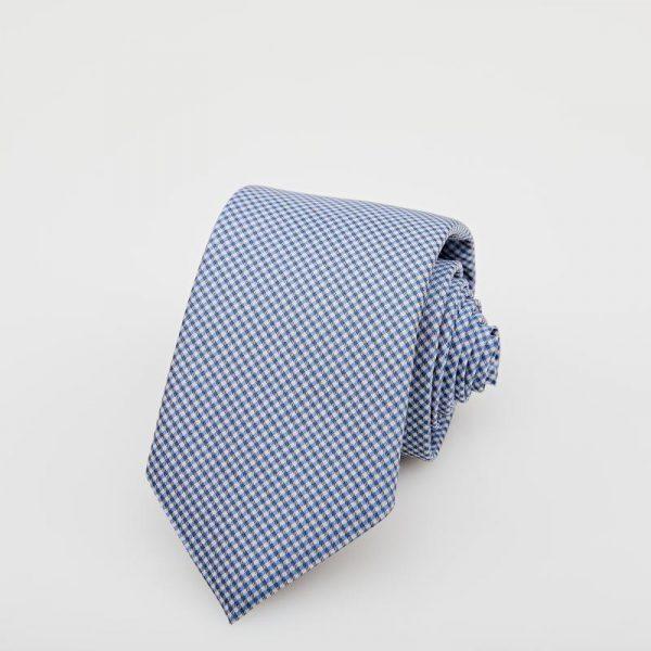 Cravată albă cu dungi albastre