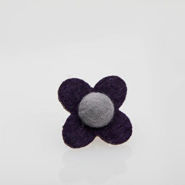 Accesoriu Casual pentru Rever Tip Floare de culoare Neagră cu Gri