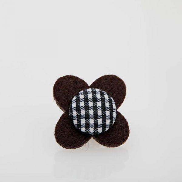 Accesoriu Casual pentru Rever Tip Floare de culoare Neagră cu carouri