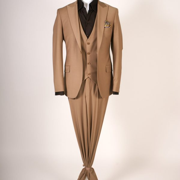 Classic British Inspiration Design -Dark Cognac Brown Suit Three Pieces