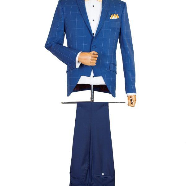 Costum Bespoke Bleu în Carouri Reinterpretat