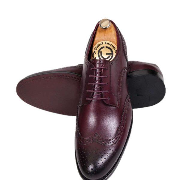 Pantofi Oxford grena cu negru