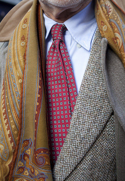 bruce-boyer-in-tweed-printed-tie-unbottened-shirt-collar-and-printed-scarf-by-rose-callahan